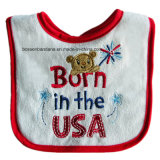 Custom Made Christmas Brodé Coton Promotionnel Red Baby Bib Baby Wear