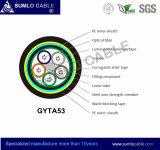 Gysta53/GYTA53 trenzó el cable de fibra óptica, entierro directo al aire libre, envoltura doble, cinta de acero acanalada