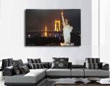 キャンバスの壁の芸術の上でついている景色の油絵LED自由の女神