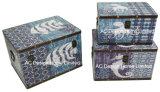 S/3 декоративные предметы антиквариата Vintage Classic морских дизайн прямоугольные печати фиолетового цвета кожи/MDF деревянные окна соединительных линий для хранения