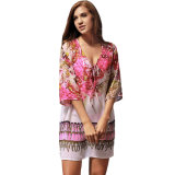 Serpentina Imprimir Hi-Lo Hem Beach Cover-up