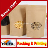 Alimento Grade Aluminum Foil Side Gusset Kraft Bag con Window (220078)