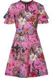 Высокое качество 2017 Ruffled напечатанная фабрика одежды миниого платья Протягивать-Джерси