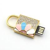 Lecteur flash USB imperméable à l'eau en cristal de bijou en métal d'USB Thumbdrive