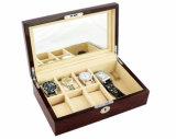 Boîte-cadeau/cas en bois de mémoire d'étalage de montre de fini de Brown foncé Matt de bois de rose