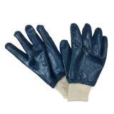 El nitrilo azul sumergió completamente el guante China del trabajo de los guantes