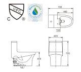 2016 Nuevo estilo Retrete de una pieza de cerámica de la trampa de aseos con adaptador de PVC suave y cerrar la tapa del asiento AST362
