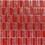 Красный цвет стеклянной мозаики плитки для хруст льда тема (M1233)