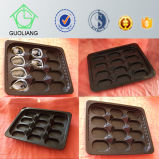 Frozen Food Packaging Supplies bandeja Oyster Negro Ronda de plástico con compartimientos