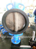 Il tipo duttile valvola a farfalla della cialda allineato EPDM del ferro con la scatola ingranaggi funziona