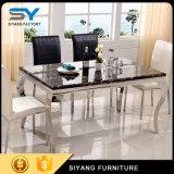 Mobilier en acier inoxydable de la Table Table en marbre Table de dîner