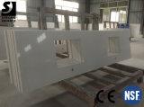 Engenharia polido bancadas de Lajes de pedra de quartzo branca Factory