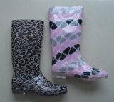 Популярные загрузки дождя из ПВХ для печати в стиле, дешевые дождь Boot, женщина прозрачных загружается