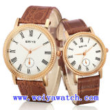 Relógio do negócio da promoção do relógio do couro da liga com unisex (WY-1083GA)