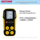 De Analysator van het gas, de Detector van het Lek van het Gas, de Detector Lel, Co, Co2, O2 4 van het multi-Gas in 1 Detector van het Gas