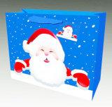 Bolsa de papel modificada para requisitos particulares impresión única superior del regalo de la Navidad de la manera de la venta para la botella de vino