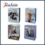 Bolsa de papel de encargo laminada ventas al por mayor coloreada impresa animal linda de la insignia