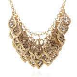 L'oro placcato scava fuori il foglio che intaglia la collana femminile di Jewllery di modo