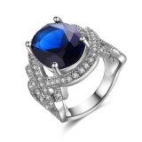 De witgoud Geplateerde Kunstmatige Juwelen van de Ring van de Diamanten bruiloft