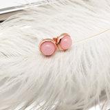 宝石類一定カラー石のピンクは女の子の女性のためのイヤリングのスタッドに玉を付ける
