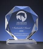 Grabado de forma personalizada Octágono trofeo de cristal para ventas de la empresa premios