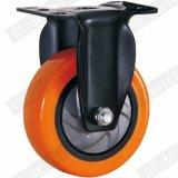 Mittleres Aufgabe PU-Gewinde-Stamm-Seiten-Bremsen-Fußrollen-Rad (orange) (einzelne Peilung) (G3216E)