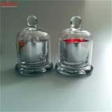 Vela de cristal del tarro de la plata de la tapa de la bóveda para el mercado de gama alta
