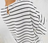 Moda curto simples fatos camiseta com calças pretas