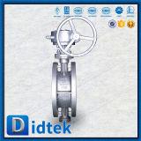 Válvula de mariposa compensada de la oblea del triple caliente del engranaje de Didtek