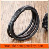 Armband van de Kabel van het Leer van de Stijl van het Roestvrij staal van de Juwelen van Shineme de Hete (BL2859)