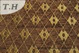 Tissu de sofa de Chenille de plaid de Brown (FTH31180B)