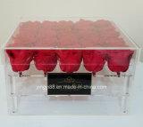 Rectángulo de regalo de acrílico claro clasificado de Rose de la Navidad de la venta al por mayor de la fábrica de Yyb diverso