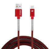 Carga rápida de trenzado Nylon 2.4A USB Cable de datos para teléfono móvil de tipo C