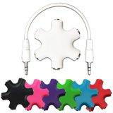6-Way 3.5mm Stereoaudiokopfhörer-Naben-Teiler bis zu 5 Kopfhörern zum iPod MP3 (Schwarzes)