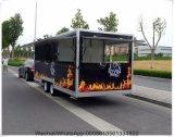 Carro móvil 2017 del alimento del acoplado del alimento de la calle de encargo del perrito caliente del abastecimiento de la fuente de China con las ruedas