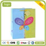 Мешки голубого и зеленого искусствоа Coated подарка бабочки бумажные