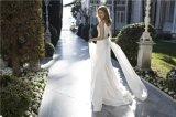Платье венчания Lb1824 пляжа страны Mermaid поезда Bridal мантий V-Шеи шифоновое