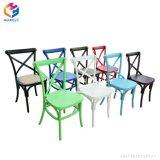 レンタルスタック可能結婚式の十字の背部椅子Xの背部黒い椅子