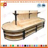 A cremalheira de madeira do supermercado arquiva o carrinho de indicador do vegetal e da fruta (Zhv17)