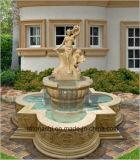 Figura de mármol blanca escultura para la fuente del jardín