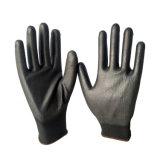13индикатора черный провод фиолетового цвета с покрытием из нейлона перчатки нейлон черного цвета рабочей PU перчатки PU защитные перчатки