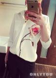 Рубашки втулки женщин рубашка втулки длинней шифоновой вскользь длинняя