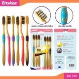 O Toothbrush adulto luxuoso com dourado & ativou as cerdas 6 do carbono em 1 bloco 729