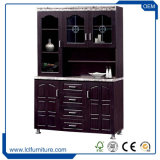 現代台所家具の削片板の黒カラー3ドアの食器棚