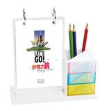 Großverkauf-bunter Acrylkalender mit Feder-Halter