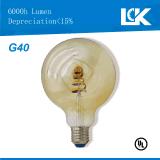 5W 500lm E26 G40 nueva espiral de luz LED Lámpara de filamento