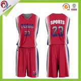 卸し売りOEM 100%年のポリエステル昇華カスタム赤いバスケットボールのユニフォーム