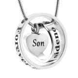 Zoon voor altijd in Mijn Juwelen van de Urn van de Crematie van het Roestvrij staal van het Hart