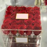 Rectángulo de regalo de acrílico claro clasificado de Rose de la Navidad de la venta al por mayor de la fábrica de Yageli diverso