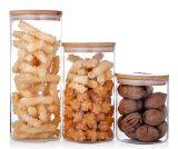 عال مقاومة زجاجيّة تخزين مرطبان مع غطاء خيزرانيّ لأنّ وجبة خفيفة, قهوة, سكّر نبات, شاي